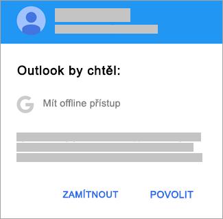 Klepnutím na Povolit udělte Outlooku offline přístup.