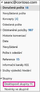 Outlook 2016 navigační podokno se zvýrazněným skupiny