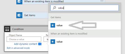 Sada hodnota je uvedena v Get items při přidání podmínky