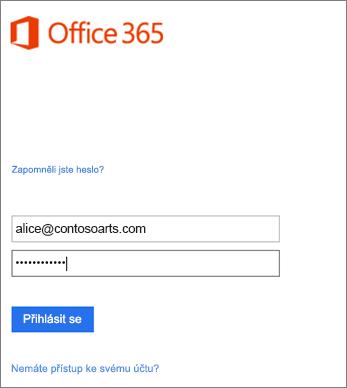 Přihlášení k účtu organizace v Outlooku