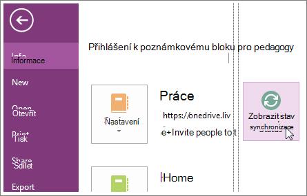 Zobrazení stavu synchronizace poznámkových bloků OneNotu.