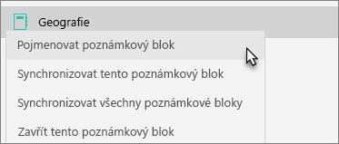 Týmový poznámkový blok s vybranou možností Zadat vlastní název poznámkového bloku