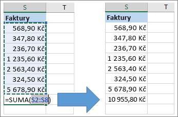 Použití funkce AutoSum