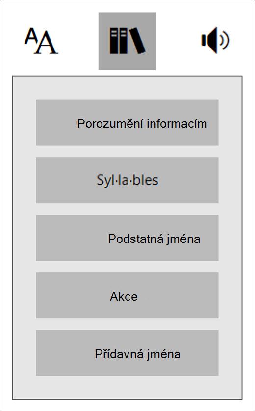 Nabídka Slovní druhy v Asistivní čtečce, která je součástí doplňku Výukové nástroje pro OneNote