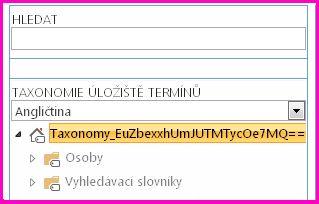 Snímek obrazovky stromového zobrazení v nástroji správy úložiště termínů, který ukazuje taxonomii a podsložky.