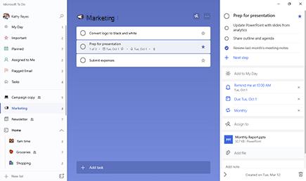 Seznam marketingových seznamů s vybranou položkou příprava úkolů pro prezentaci Podrobné zobrazení se otevře se třemi kroky a opakováním termínu splnění a připomenutí. Měsíční Report.pptx je připojený soubor.