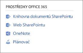 Snímek obrazovky zobrazující Office 365 zdroje