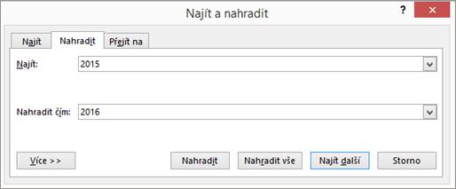 Karta Nahradit vdialogovém okně Najít anahradit