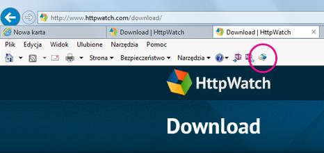 Panel nástrojů s příkazy Internet Exploreru se zobrazenou ikonou HTTPWatch