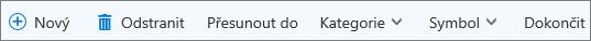 Panel příkazů Úkoly pro Outlook.com