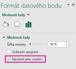 Podokno úloh Formát datového bodu se zaškrtnutým políčkem Nastavit jako celkový součet v Office 2016 pro Windows