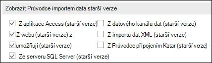 Obrázek možností načíst a transformovat Průvodce starší verze ze souboru > Možnosti > Data.