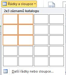 Řádky a sloupce rozložení stránky katalogu