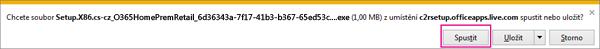 Obrázek tlačítka Spustit, které zvolíte, když chcete spustit instalaci.