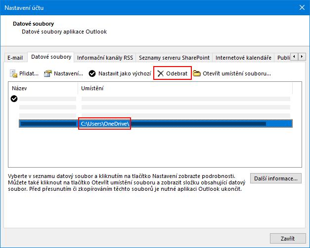 Dialogové okno datové soubory aplikace Outlook