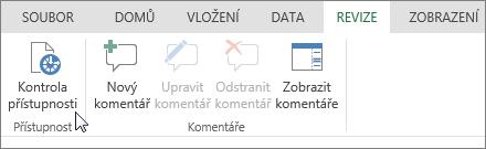 Snímek obrazovky s kartou Revize a ukazatelem nastaveným na možnost Kontrola přístupnosti