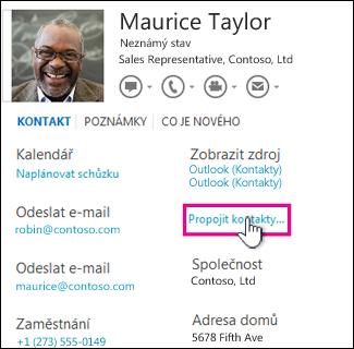 Tlačítko Propojit kontakty na kartě kontaktu