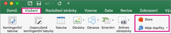 Ukazuje tlačítka Store a Moje doplňky na kartě Vložení na pásu karet Excelu 2016 pro.