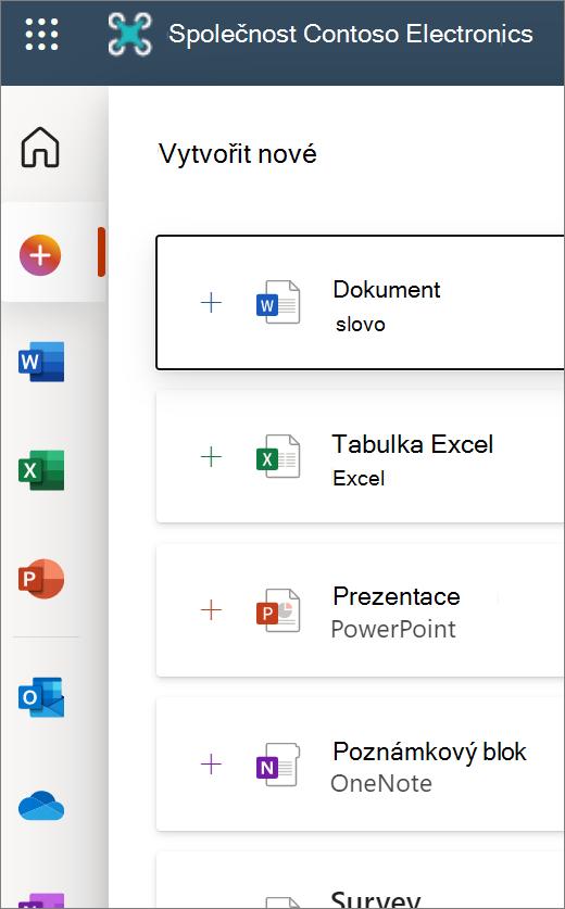 Novinka: Úvodní obrazovka Office.com obsahuje ikony pro otevření nového dokumentu nebo Wordu, Excelu atd.