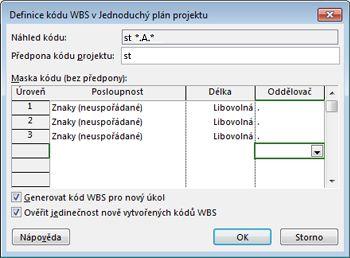 Obrázek dialogového okna pro definování kódu WBS