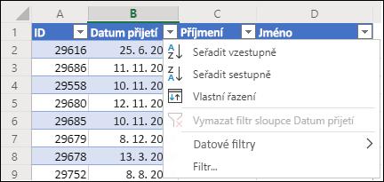 Použití filtru tabulky k vzestupnému nebo sestupnému řazení