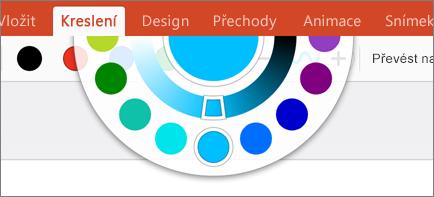 Zobrazuje nástroj Barevné kolo s možností výběru dalších barev na kartě Kreslení v Office 2016 pro iPad