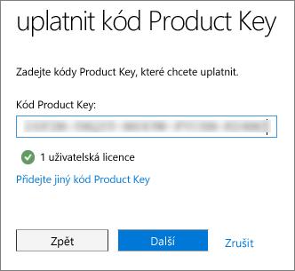 Zadejte 25místný alfanumerický kód Product Key.
