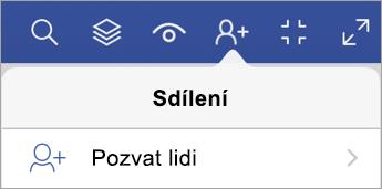 Možnost Pozvat ostatní ve Visio Vieweru pro iPad
