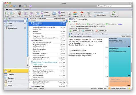 E-mailová pozvánka zobrazující kalendář