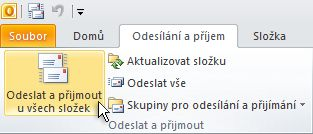 Send & Receive All Folders command on the ribbon