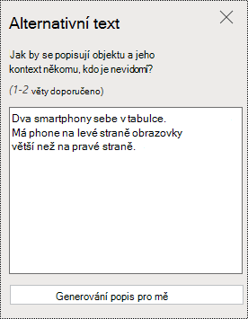 Dialogové okno alternativní text v PowerPointu Online