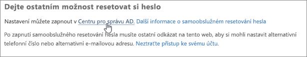 Vyberte odkaz na Centrum pro správu Azure
