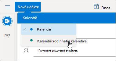 Snímek obrazovky s rozevírací nabídkou pro výběr kalendáře