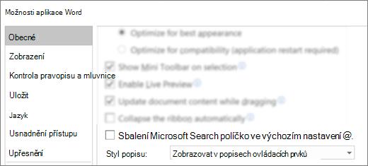 Dialogové okno Možnosti souboru > s možností automaticky rozbalí vyhledávací pole Microsoft.