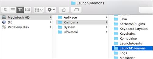 Přejděte do složky Knihovna a pak do složky LaunchDaemons