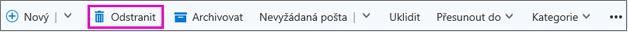 Tlačítko Odstranit na pásu karet v Outlooku