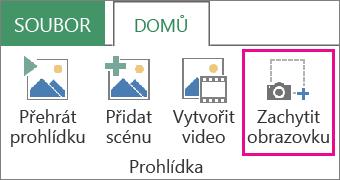 Tlačítko Zachytit obrazovku na kartě Domů