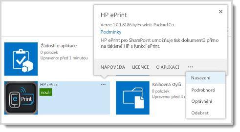 Příkaz Nasazení je dostupný v popisku aplikace na webu Katalog aplikací.