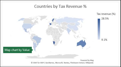 Mapový graf Excelu zobrazující hodnoty se zeměmi dle výnosu daně%