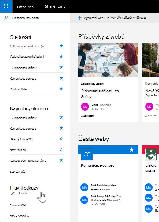 Seznam odkazů na domovskou stránku služby SharePoint online