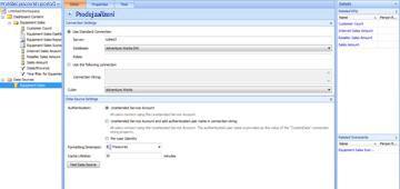 Stránka v aplikaci Návrhář řídicích panelů s novým zdrojem dat Prodej vybavení