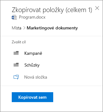 Snímek obrazovky s volbou umístění při kopírování souboru do SharePointu