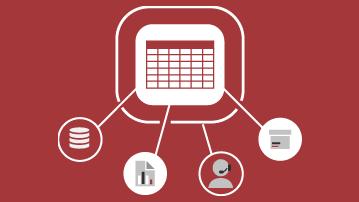 Tabulka s čárami vedoucími k symbolu databáze, sestavě, uživateli a rozevíracímu seznamu