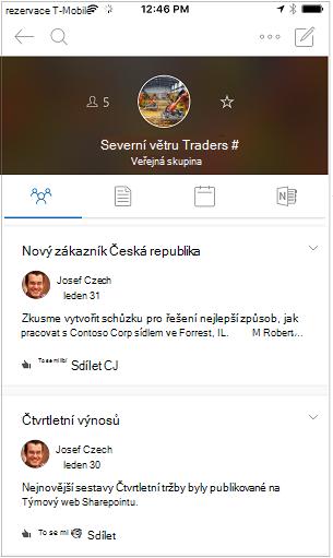 Zobrazení konverzace mobilní aplikace skupiny v Outlooku