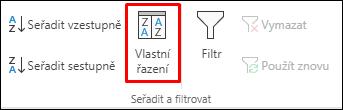 Možnosti vlastního řazení na kartě Data v Excelu