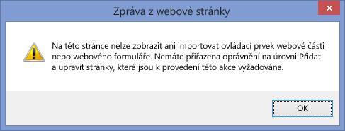 Chybová zpráva, která se zobrazuje po zákazu skriptování na webu nebo kolekci webů