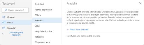 Snímek obrazovky stránky Pravidla v Nastavení pošty pro Outlook.com.
