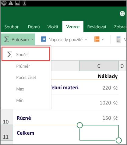 Přístupové menu pásu karet Excelu pro Android