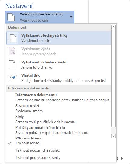Snímek obrazovky s podoknem Tisk s rozbalenou nabídkou Vytisknout všechny stránky zobrazující další možnosti.