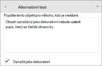 V dialogovém okně alternativní text v PowerPointu pro Android označte jako ozdobné.
